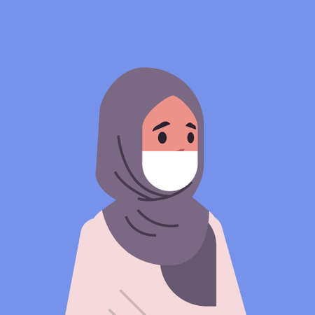arab woman wearing face mask environmental industrial smog dust toxic air pollution and virus protection concept arabic female cartoon character portrait flat vector illustration Banque d'images - 129114809