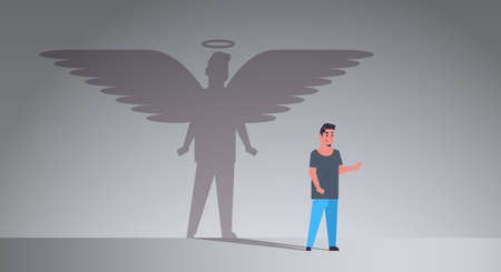 casual guy with shadow of angel imagination aspiration concept male cartoon character standing pose full length flat horizontal vector illustration 일러스트