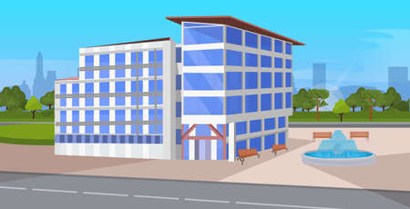 modern corporate architecture office building exterior with large panoramic windows commercial business center design landscape background flat horizontal vector illustration 写真素材 - 129114818