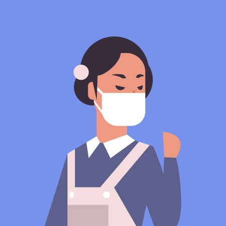 woman wearing face mask environmental industrial smog dust toxic air pollution and virus protection concept female cartoon character portrait flat vector illustration