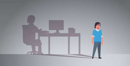 guy dreaming about being freelancer shadow of man working on computer at workplace imagination aspiration concept male cartoon character full length flat horizontal vector illustration  イラスト・ベクター素材
