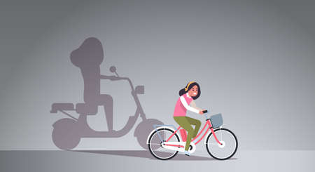 casual girl riding bike shadow of woman on motor scooter imagination aspiration concept female cartoon character full length flat horizontal vector illustration