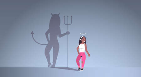 african american girl with nimbus choosing between good and evil shadow of devil imagination aspiration concept female cartoon character standing pose full length flat horizontal vector illustration Stockfoto - 129114826