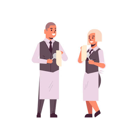professional waiters couple polishing wine glasses with towel man woman restaurant workers in uniform flat full length white background vector illustration