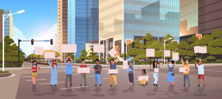 people protesters holding blank placards men women activists with empty banners on asphalt road protest demonstration strike concept modern city street cityscape background full length horizontal vector illustration Ilustrace