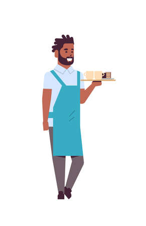 professional waiter holding coffee and cake on tray african american man restaurant worker in apron serving food concept flat full length white background vertical vector illustration Ilustração