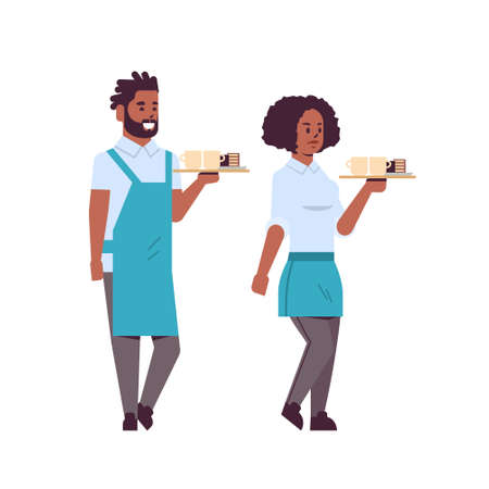 professional waiters couple holding coffee and cake on tray african american man woman restaurant workers in apron serving food concept flat full length white background vector illustration Ilustração