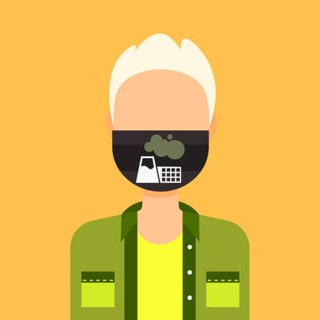 man wearing protective face mask with plant pipe dirty waste nature atmosphere pollution concept guy profile avatar male cartoon character portrait flat vector illustration