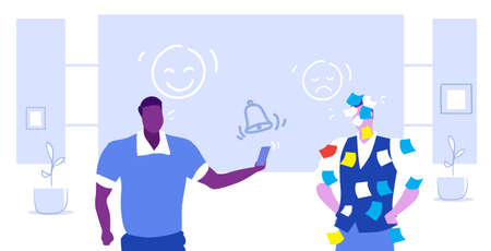 overworked manager covered with sticky notes african american boss using smartphone mix race colleagues working together teamwork deadline concept sketch horizontal portrait vector illustration Çizim