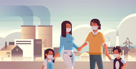 parents and children wearing face masks toxic gas air pollution industry smog polluted environment concept family walking outdoor plant pipe dirty smoke background portrait horizontal vector illustration
