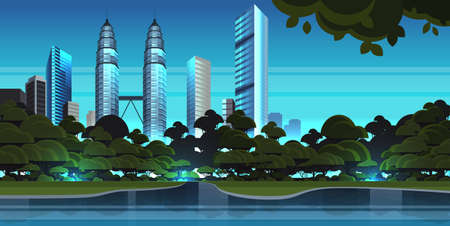 beautiful night city panorama skyline high skyscrapers waterfront view modern cityscape background flat horizontal vector illustration  イラスト・ベクター素材