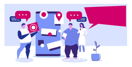people using cellphone online application navigation communication concept men woman with chat bubbles speech and location geo tags discussing near smartphone screen sketch horizontal full length vector illustration Illustration