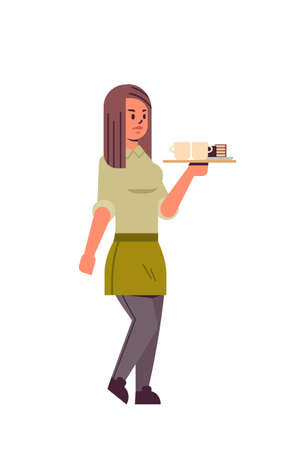 professional waitress holding coffee and cake on tray woman restaurant worker in apron serving food concept flat full length white background vertical vector illustration