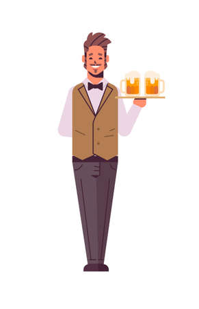 professional waiter holding serving tray with two glasses of beer man restaurant worker in uniform carrying alcohol drinks flat full length white background vertical vector illustration
