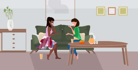 two girls sitting on couch mix race women couple discussing during meeting modern living room interior flat full length horizontal vector illustration