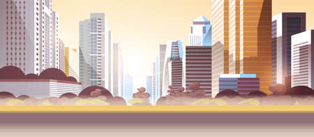 modern street city skyscrapers toxic gas air pollution industry smog polluted environment concept cityscape skyline background flat horizontal vector illustration