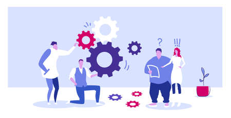 businesspople team controlling cogwheel processing mechanism colleagues brainstorming generating new business project concept sketch horizontal full length vector illustration