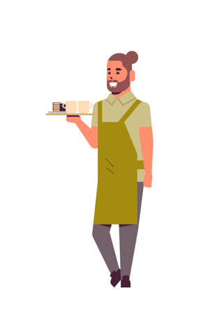 professional waiter holding coffee and cake on tray man restaurant worker in apron serving food concept flat full length white background vertical vector illustration