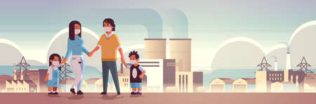 parents and children wearing face masks toxic gas air pollution industry smog polluted environment concept family walking outdoor plant pipe dirty smoke background full length horizontal vector illustration