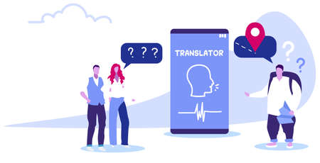 traveler with man woman couple using online translator mobile application to translate language by voice people discussing during meeting chat bubble communication concept sketch horizontal vector illustration Illustration