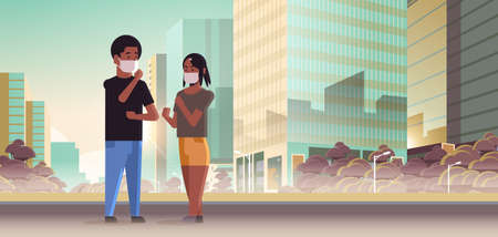 couple wearing face masks toxic gas air pollution industry smog polluted environment concept man woman walking outdoor dirty smoke skyscrapers cityscape skyline background full length horizontal vector illustration Illusztráció