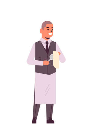 professional waiter polishing wine glass with towel man restaurant worker in uniform flat full length white background vertical vector illustration Foto de archivo - 129397479