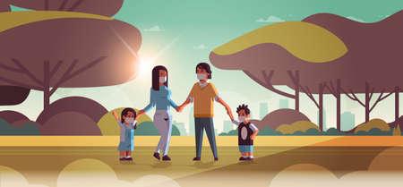familie dragen gezichtsmaskers giftig gas luchtvervuiling industrie smog vervuild milieu concept ouders en kinderen lopen buiten vuile rook landschap achtergrond volledige lengte horizontale vectorillustratie