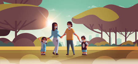 family wearing face masks toxic gas air pollution industry smog polluted environment concept parents and children walking outdoor dirty smoke landscape background full length horizontal vector illustration