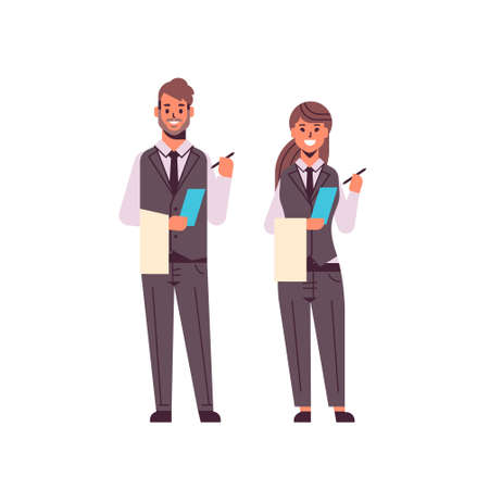 professional waiters couple making notes man woman restaurant workers in uniform holding notepad and towel taking order concept flat full length white background vector illustration Foto de archivo - 129397485