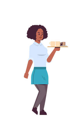 professional waitress holding coffee and cake on tray african american woman restaurant worker in apron serving food concept flat full length white background vertical vector illustration