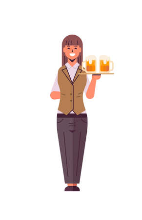 professional waitress holding serving tray with two glasses of beer woman restaurant worker in uniform carrying alcohol drinks flat full length white background vertical vector illustration  イラスト・ベクター素材