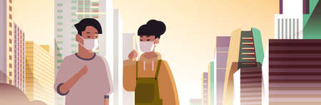 couple wearing face masks toxic gas air pollution industry smog polluted environment concept man woman walking outdoor dirty smoke skyscrapers cityscape skyline background portrait horizontal vector illustration