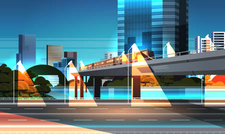 highway road night city street with modern skyscrapers train on railway monorail crossing bridge urban cityscape background flat horizontal vector illustration Stock Illustratie