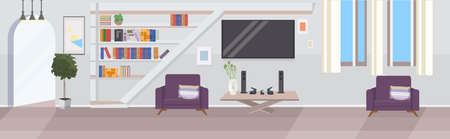 modern living room interior empty no people house room with furniture flat horizontal vector illustration