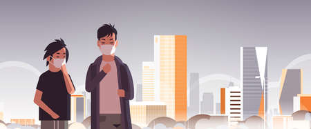 two men wearing face masks environmental industrial smog dust toxic air pollution virus protection concept guys walking outdoor city building cityscape skyline background portrait horizontal vector illustration