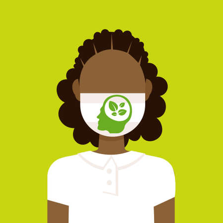 girl wearing protective face mask with leaves inside human head atmosphere pollution ecology concept arfican american woman profile avatar portrait flat vector illustration