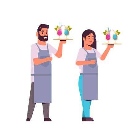 professional waiters couple holding serving trays with cocktails man woman restaurant workers in uniform carrying different alcohol drinks flat full length white background vector illustration Foto de archivo - 129397502