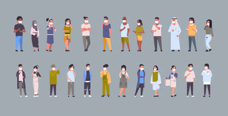 set people wearing face masks environmental industrial smog dust toxic air pollution and virus protection concept mix race men women collection full length horizontal flat vector illustration