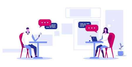 businesspeople using gadgets online application social network chatting communication concept man woman couple with chat bubble speech wireless connection sketch horizontal full length vector illustration