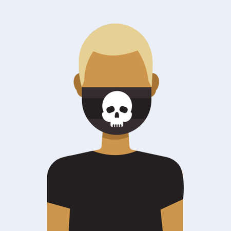 man wearing protective face mask with skull icon danger or poison concept guy profile avatar male cartoon character portrait flat vector illustration