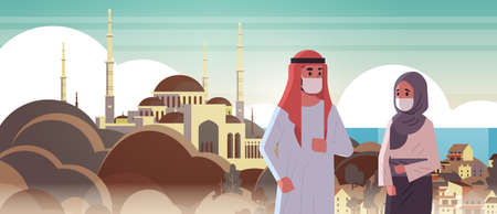 arab couple wearing face masks environmental industrial smog dust toxic air pollution virus protection concept arabic man woman walking outdoor mosque building cityscape portrait horizontal vector illustration Banque d'images - 129317709