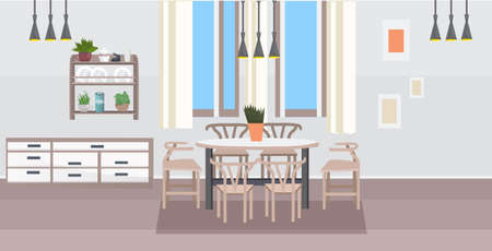 modern kitchen interior empty no people dining room with table surrounded by chairs flat horizontal vector illustration Stock Illustratie