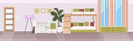 modern baby bedroom with crib and bunk bed empty no people children room interior flat horizontal vector illustration Stock Illustratie