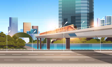 highway road city street with modern skyscrapers train on railway monorail crossing bridge urban cityscape background flat horizontal vector illustration Stock Illustratie