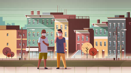 men wearing face masks toxic gas air pollution industry smog polluted environment concept mix race guys walking outdoor dirty smoke city buildings cityscape background full length horizontal vector illustration