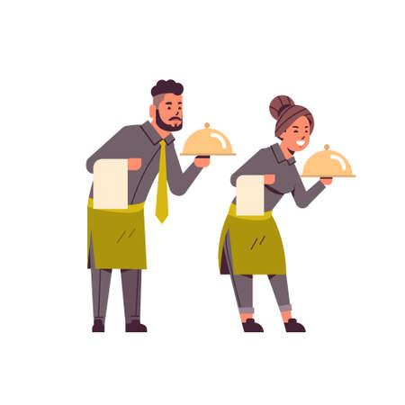 professional waiters couple holding dish man woman restaurant workers in uniform with tray and towel food serving concept flat full length white background vector illustration Foto de archivo - 129397524