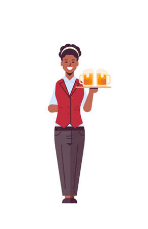 professional waitress holding serving tray with two glasses of beer african american woman restaurant worker in uniform carrying alcohol drinks flat full length white background vertical vector illust