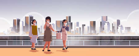 women wearing face masks environmental industrial smog dust toxic air pollution virus protection concept girls walking outdoor city building cityscape skyline background full length horizontal vector illustration