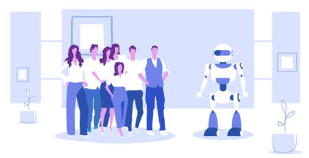 businesspeople group standing with robot artificial intelligence concept business people at meeting with humanoid modern robotic technology sketch horizontal full length vector illustration Çizim