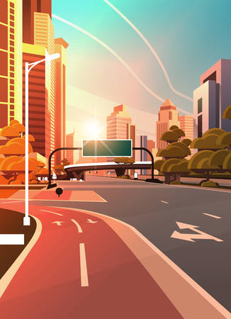 asphalt road with bike cycling lane path information banner traffic signs city skyline modern skyscrapers cityscape sunset background flat vertical vector illustration Ilustracja